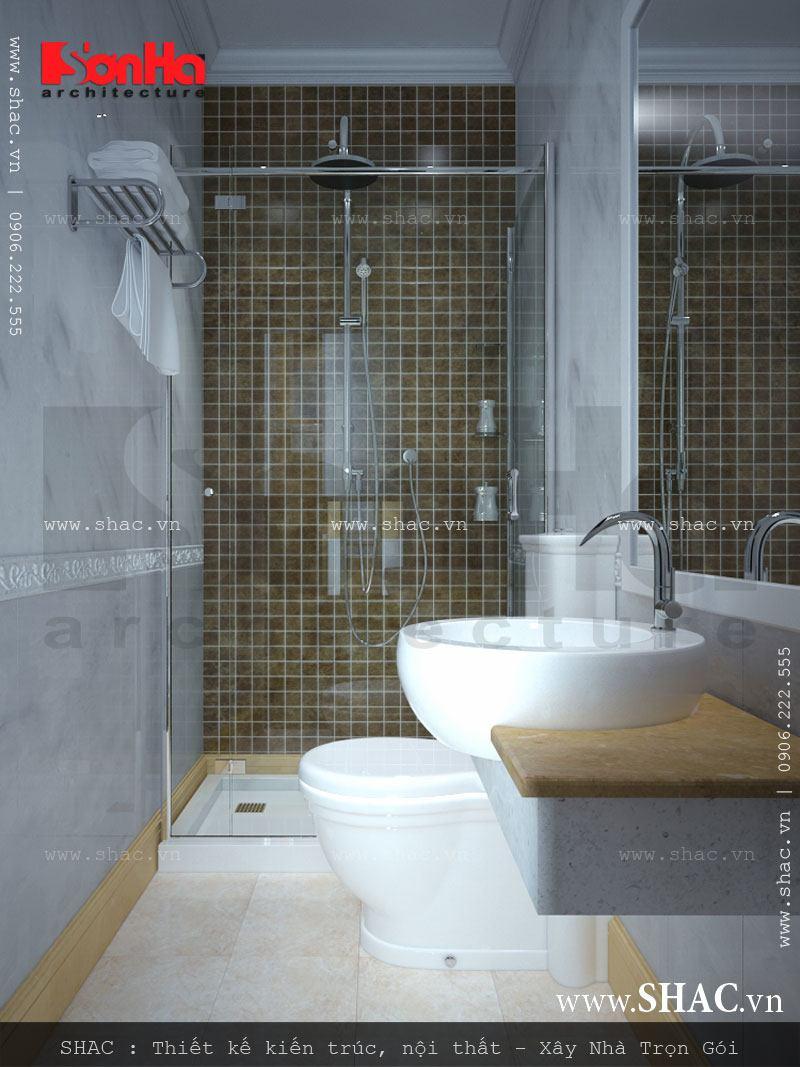 Thiết kế bồn tắm kính là giải pháp lý tưởng để tiết kiệm diện tích phòng ngủ của khách sạn 3 sao