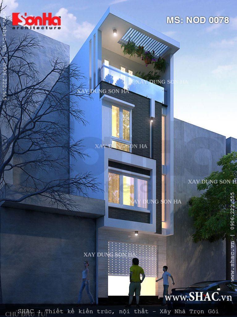Kiến trúc mặt tiền nhà phố 5m mặt tiền là sự kết hợp linh hoạt của các chi tiết ấn tượng