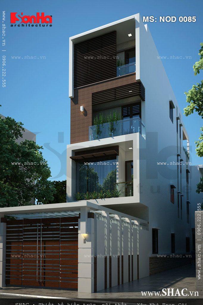Bản thiết kế nhà ống kiến trúc hiện đại 4 tầng tiện nghi được phối màu tinh tế