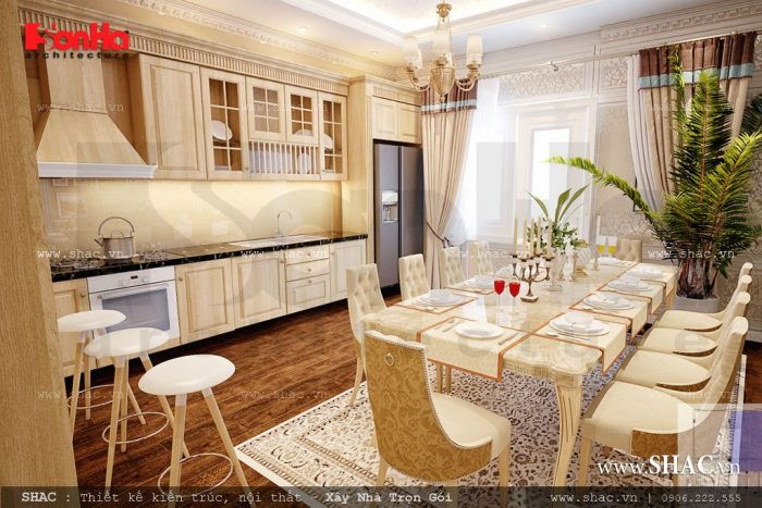 Mẫu thiết kế nội thất phòng ăn khách sạn được các kiến trúc sư Sơn Hà khéo léo bày trí trong một diện tích khiêm tốn