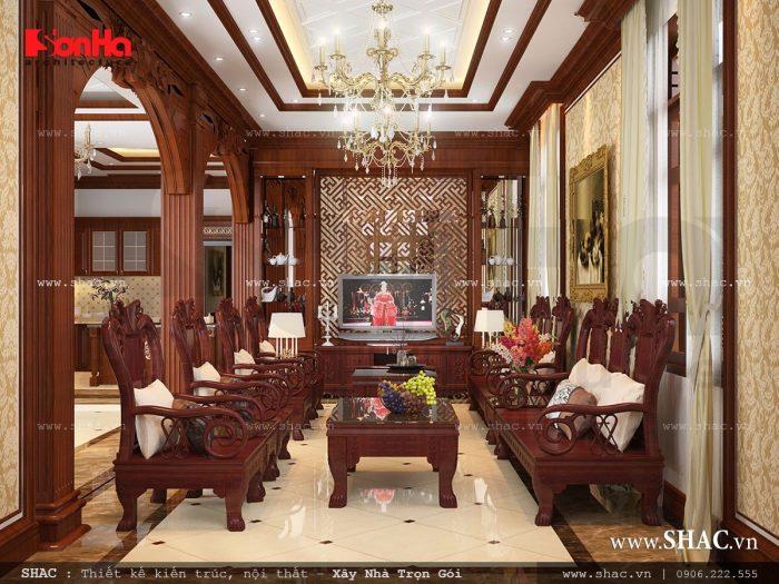 Thiết kế nội thất phòng khách Pháp với bàn ghế chất liệu gỗ cao cấp sang trọng