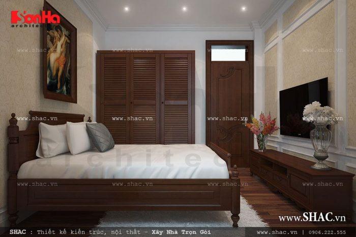 Mẫu thiết kế nội thất phòng ngủ truyền thống của biệt thự tân cổ điển Pháp 3 tầng