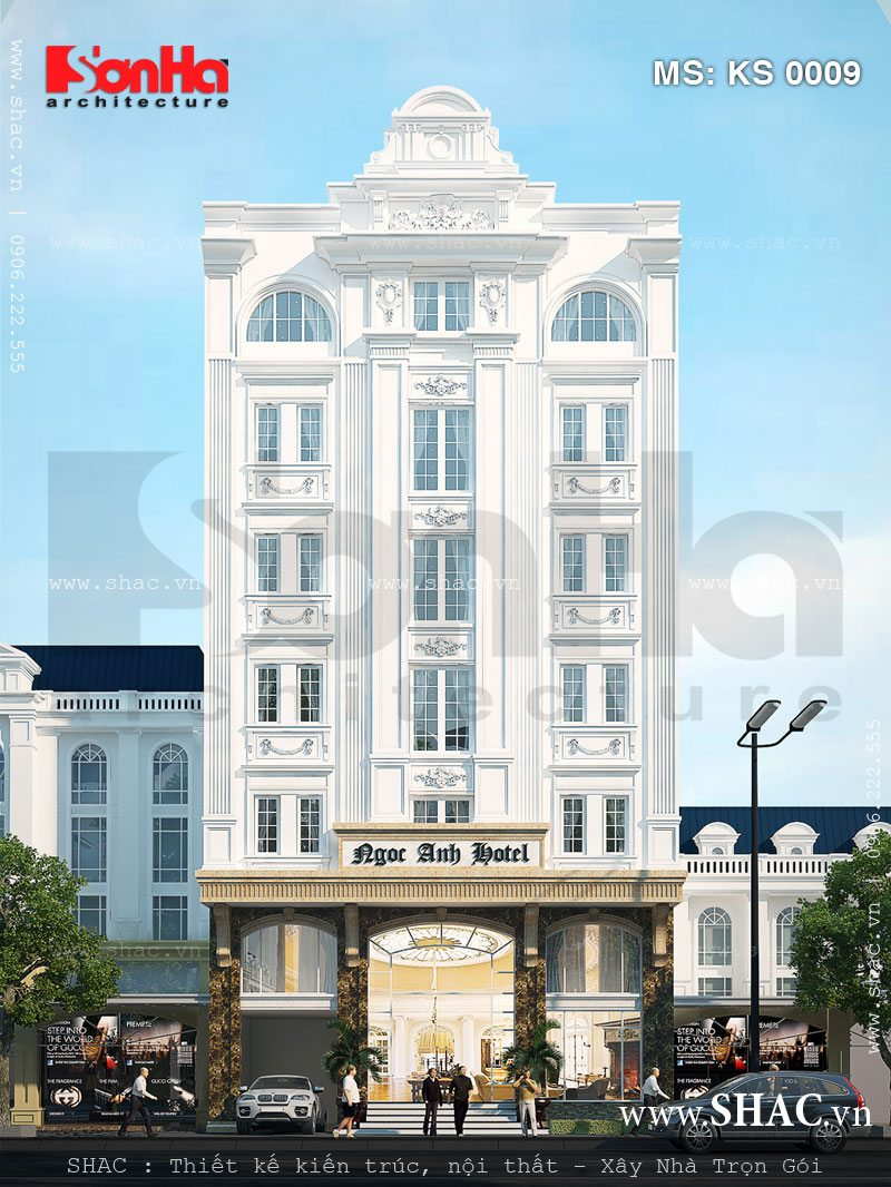 Thêm một gợi ý khả thi cho phương án thiết kế mặt tiền kiểu Pháp của khách sạn 3 sao