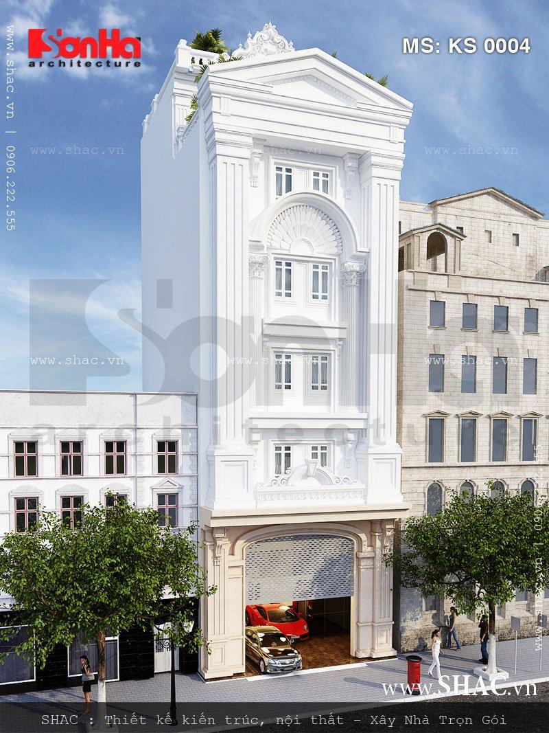 Gam màu trắng được sử dụng tinh tế và có chiều sâu trên mặt tiền khách sạn mini cổ điển