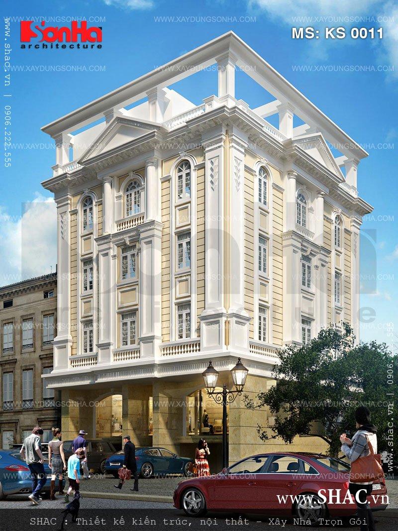 Bố cục được tập trung tạo điểm nhấn nên khách sạn 3 sao kiến trúc cổ điển tự tin xuât hiện nổi bật