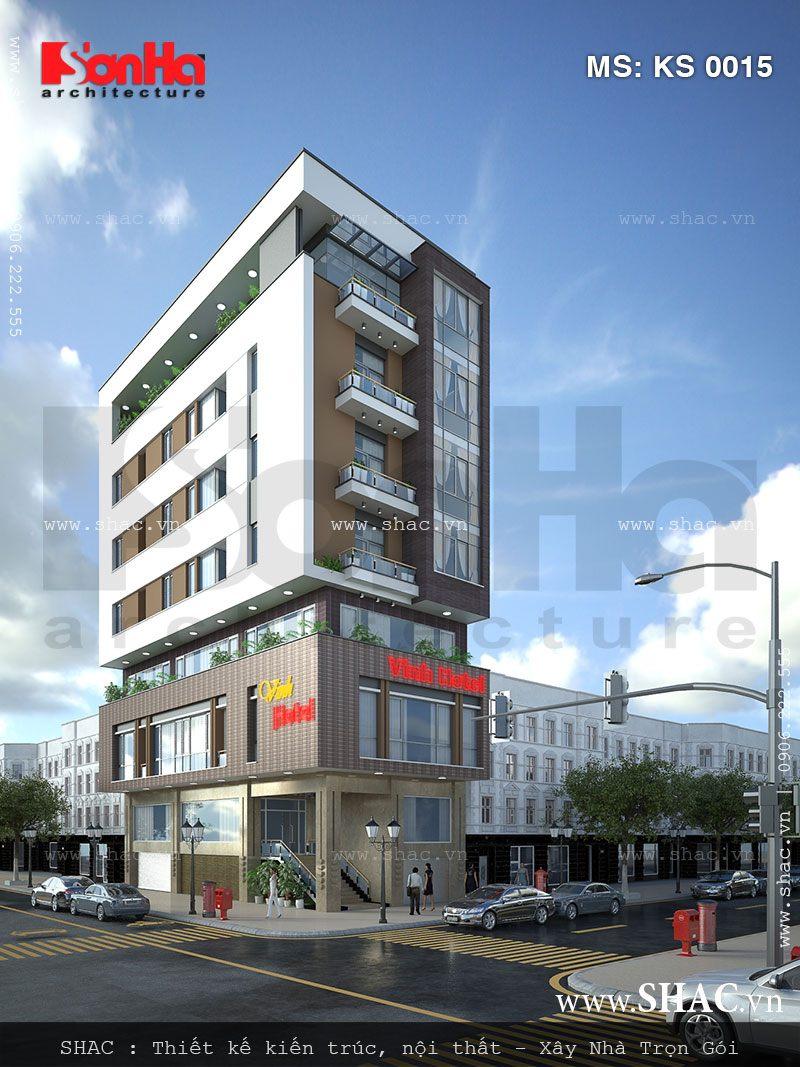 Khách sạn hiện đại 8 tầng điển hình mẫu khách sạn mini đẹp đón đầu xu hướng
