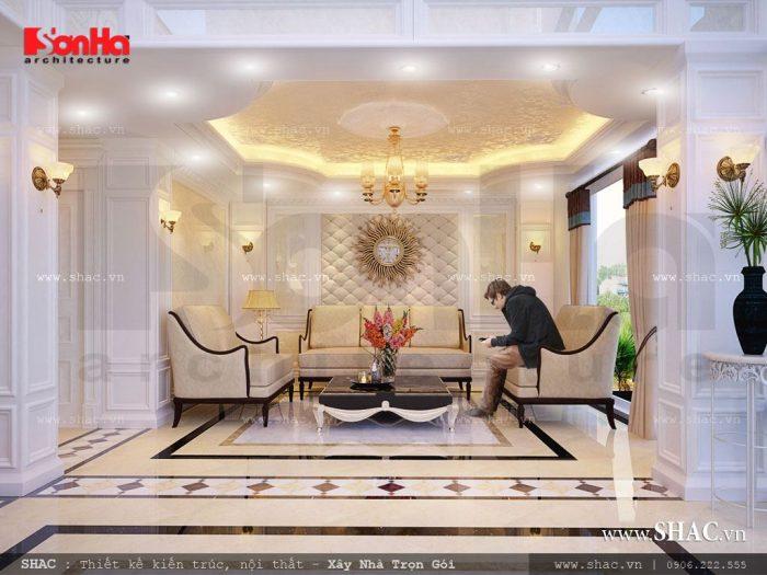 Góc view chính diện cho thấy phong cách thiết kế đậm chất cổ điển của nội thất khách sạn