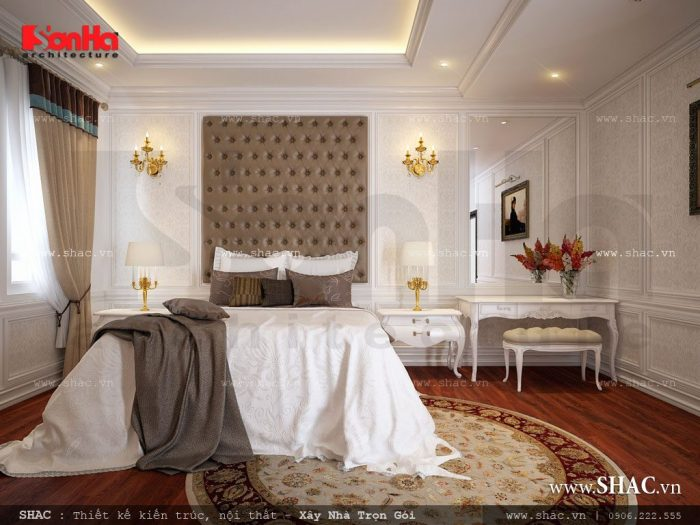 Thiết kế nội thất phòng ngủ khách sạn cổ điển tiêu chuẩn 3 sao sang trọng với màu sắc quyền quý