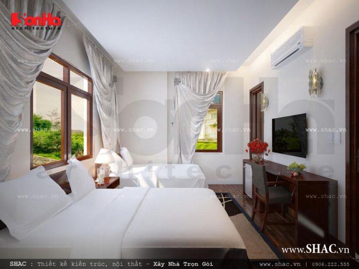 Sắc trắng tinh khôi là gam màu chủ đạo của căn phòng với thiết kế nội thất đơn giản mà KTS Sơn Hà thiết kế