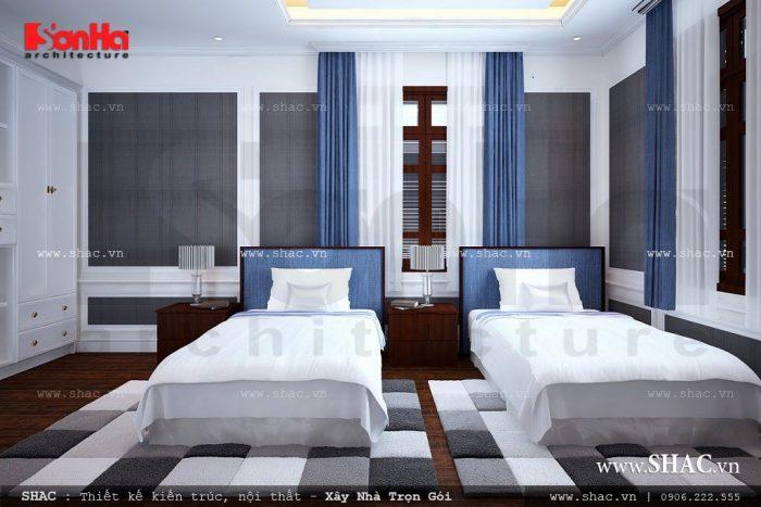 Phương án thiết kế phòng ngủ giường đôi cho các bé tiện nghi