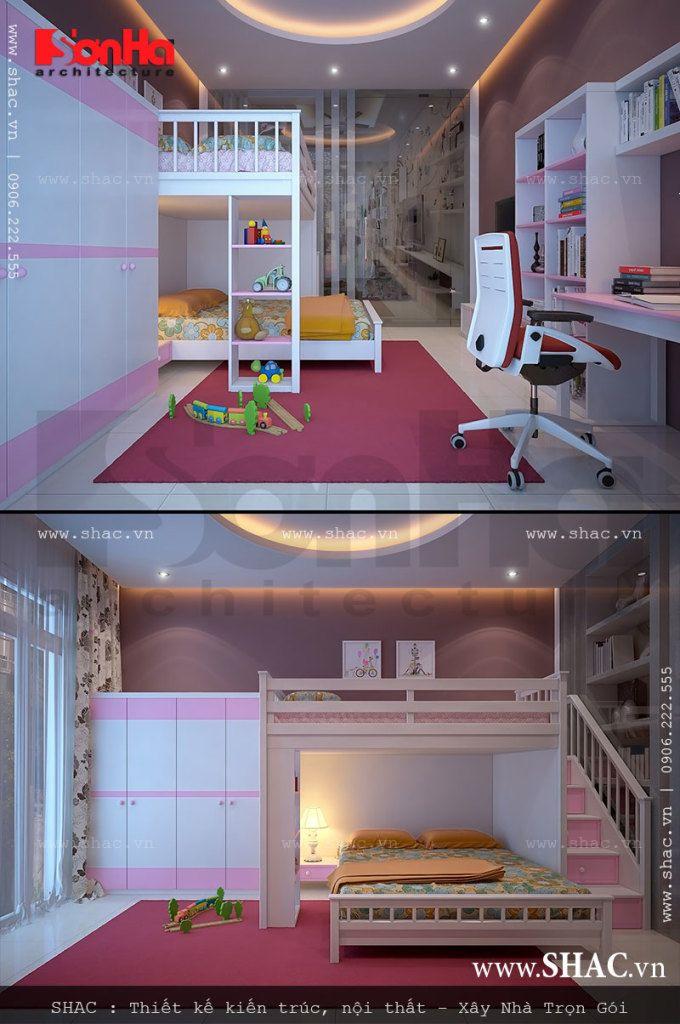 Phòng ngủ đôi màu hồng