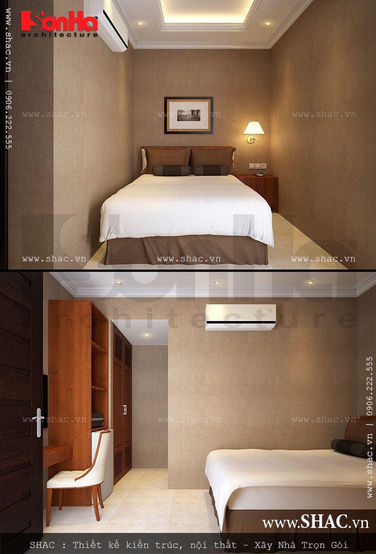 Không gian nội thất phòng ngủ khách sạn 1 sao được trang bị đầy đủ vật dụng, màu sắc hài hòa và ấm cúng