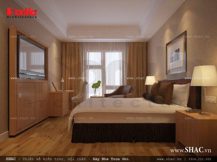 Thiết kế nội thất phòng ngủ khách sạn 1 sao với khu vực lấy ánh sáng hài hòa