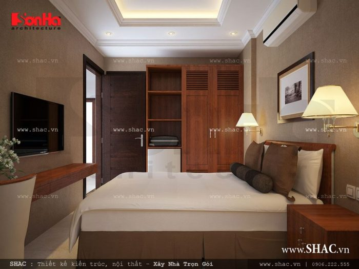 Cách bày trí nội thất ngăn nắp, tương thích với diện tích sẵn có của phòng ngủ khách sạn mang lại cảm giác thân thuộc cho Du khách