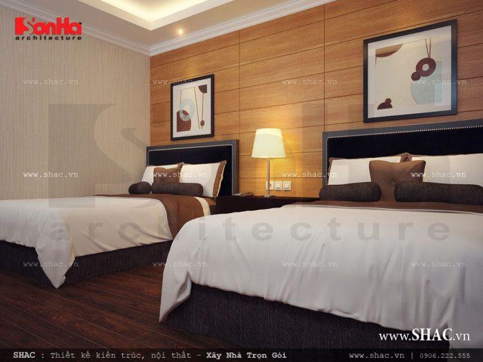 Thiết kế nội thất phòng ngủ khách sạn hiện đại đơn giản được rất nhiều du khách yêu thích