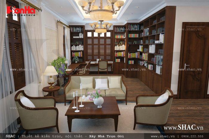 Phòng sinh hoạt chung của gia đình ngăn nắp tiện nghi với thiết kế nội thất gỗ tối màu