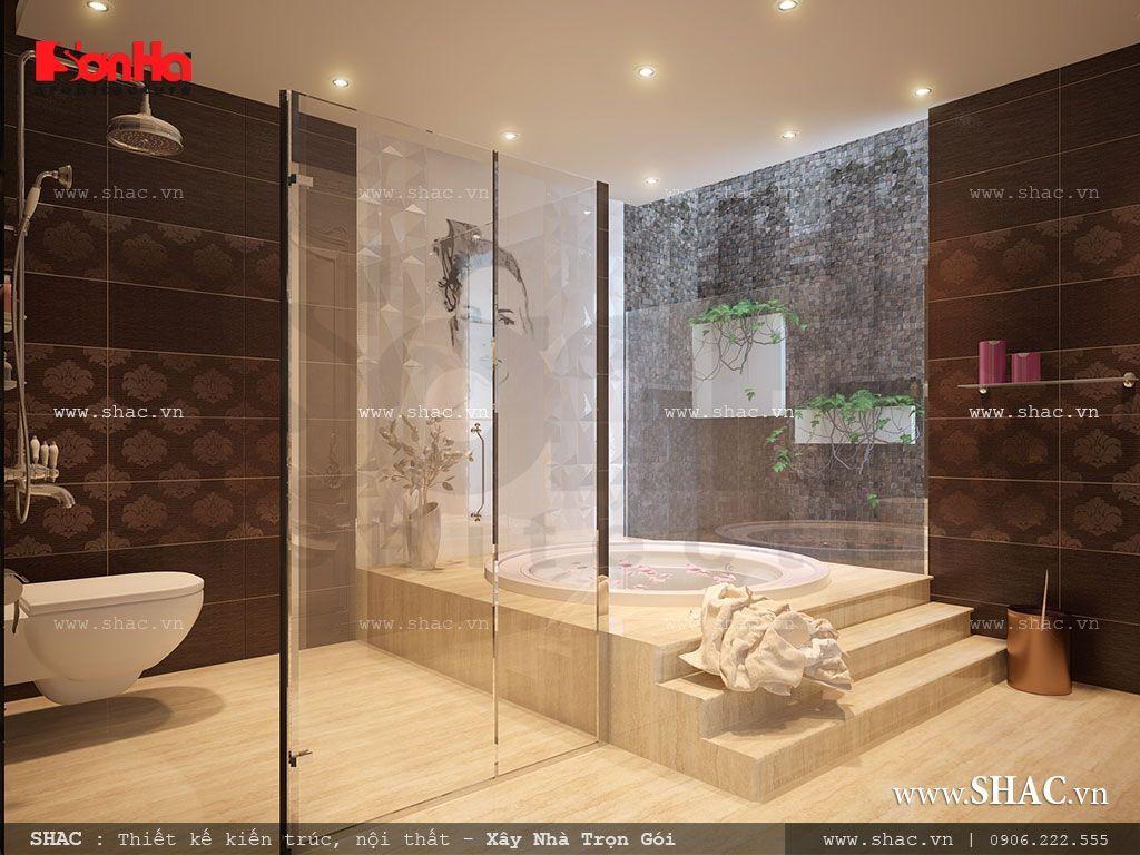 Phòng tắm đẹp có bồn tắm kính