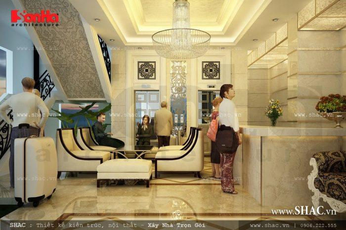 Thiết kế phòng khách chờ và quầy lễ tân của khách sạn 2 sao được bố trí ở một diện tích trung tâm tạo sự thuận tiện cho du khách