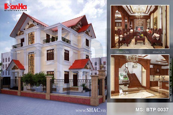 Mẫu thiết kế biệt thự tân cổ điển 3 tầng tại Thanh Hóa nổi bật bởi hệ mái ngói đỏ sang trọng