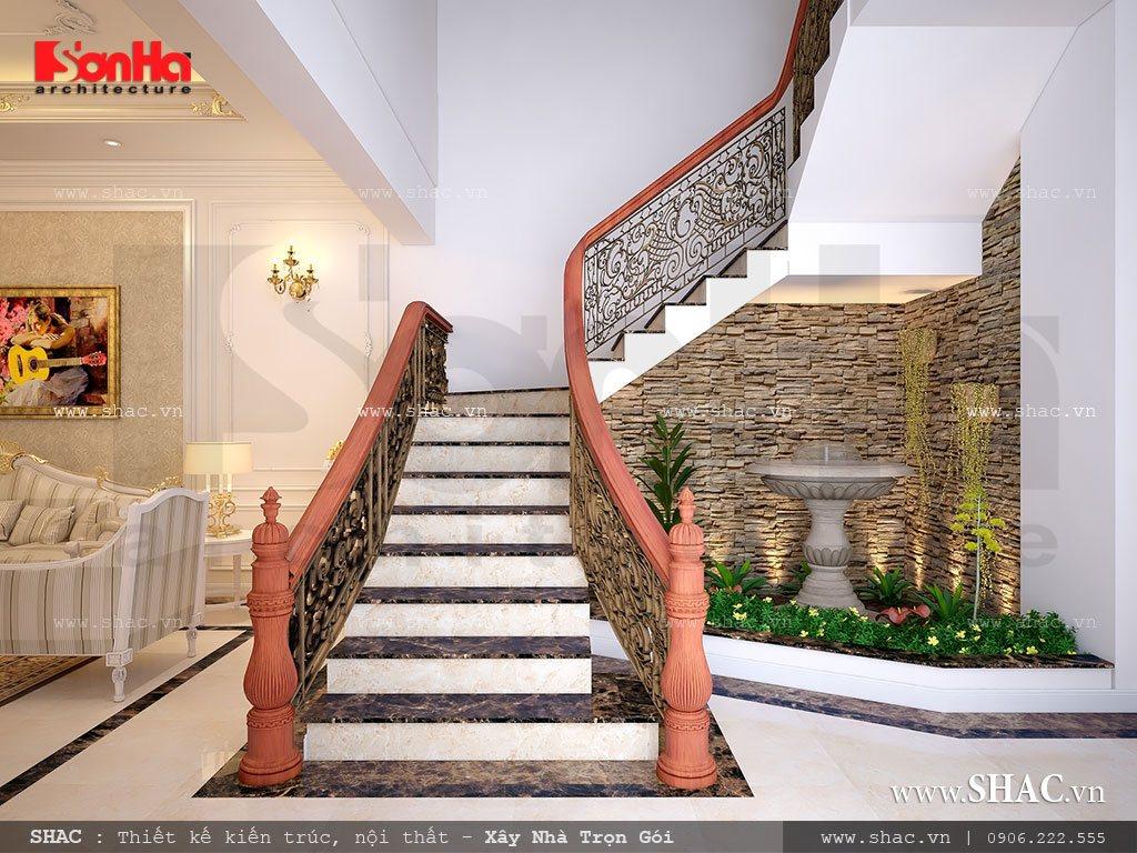 Kiến trúc thang đẹp được yêu thích sử dụng trong thiết kế nhà phố kiến trúc cổ điển