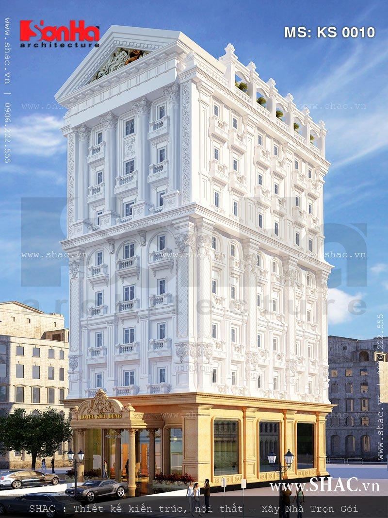 Phương án thiết kế kiến trúc khách sạn kiểu Pháp đẹp 4 sao với bố cục mạch lạc