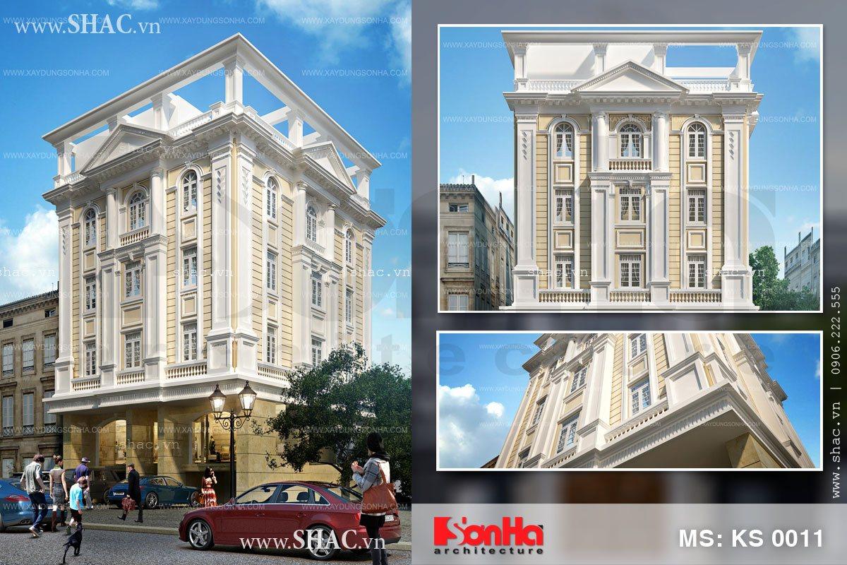 Tổng hợp các góc view của mẫu thiết kế mặt tiền khách sạn 3 sao mặt tiền kiểu Pháp