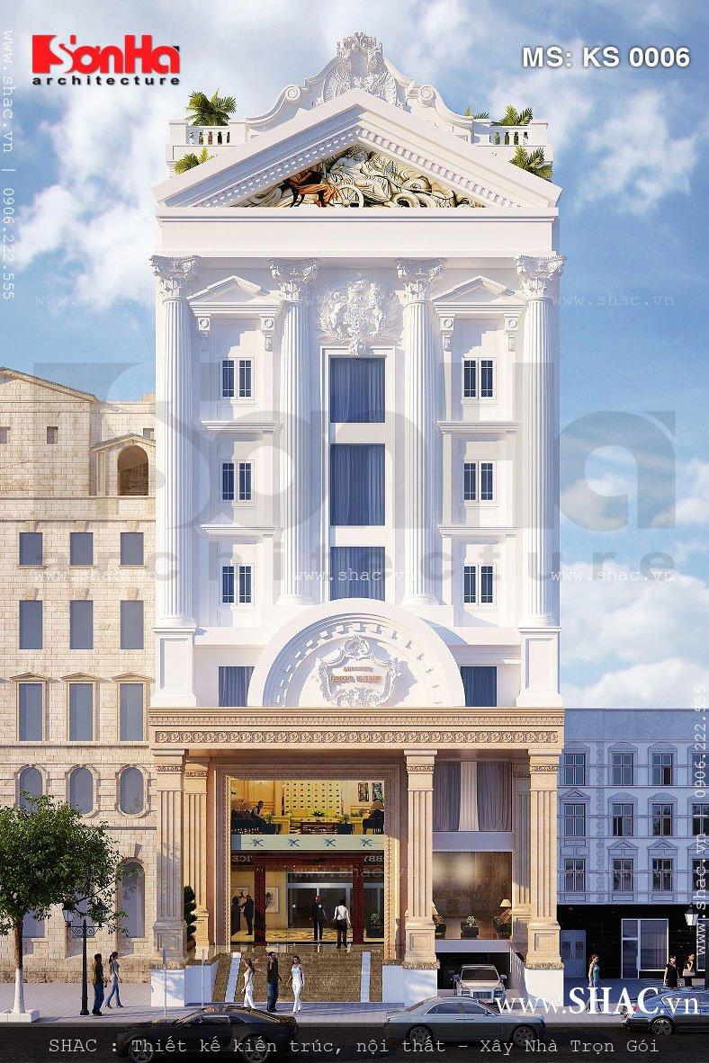 Mặt tiền khách sạn được thiết kế tiền sảnh lớn trang trọng kiểu cổ điển Pháp