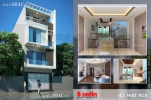 Thiết kế nhà phố lệch tầng phong cách hiện đại