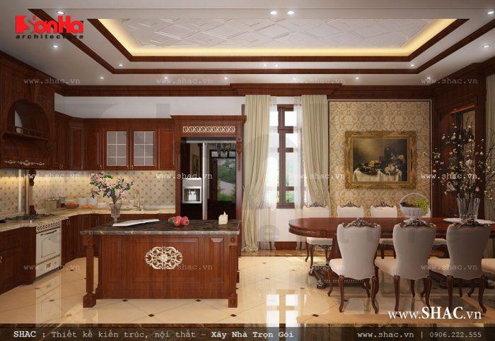 Tiếp tục lựa chọn nội thất gỗ để lên phương án thiết kế phòng bếp ăn của biệt thự vừa ấm cúng vừa tiện nghi