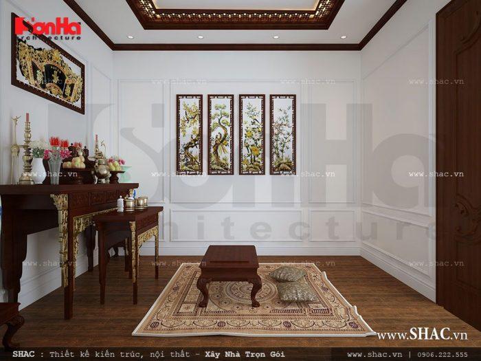 Không gian phòng thờ trang nghiêm được thiết kế nội thất cổ điển truyền thống
