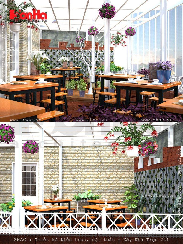 Khu cafe trên sân thượng