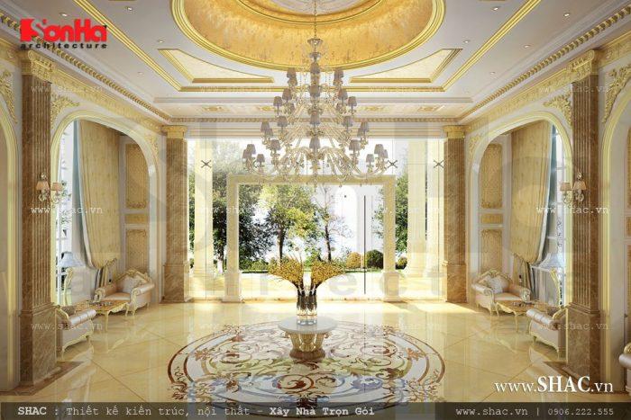 Thiết kế phần đại sảnh tầng 1 của khách sạn hoành tráng và quy mô lớn