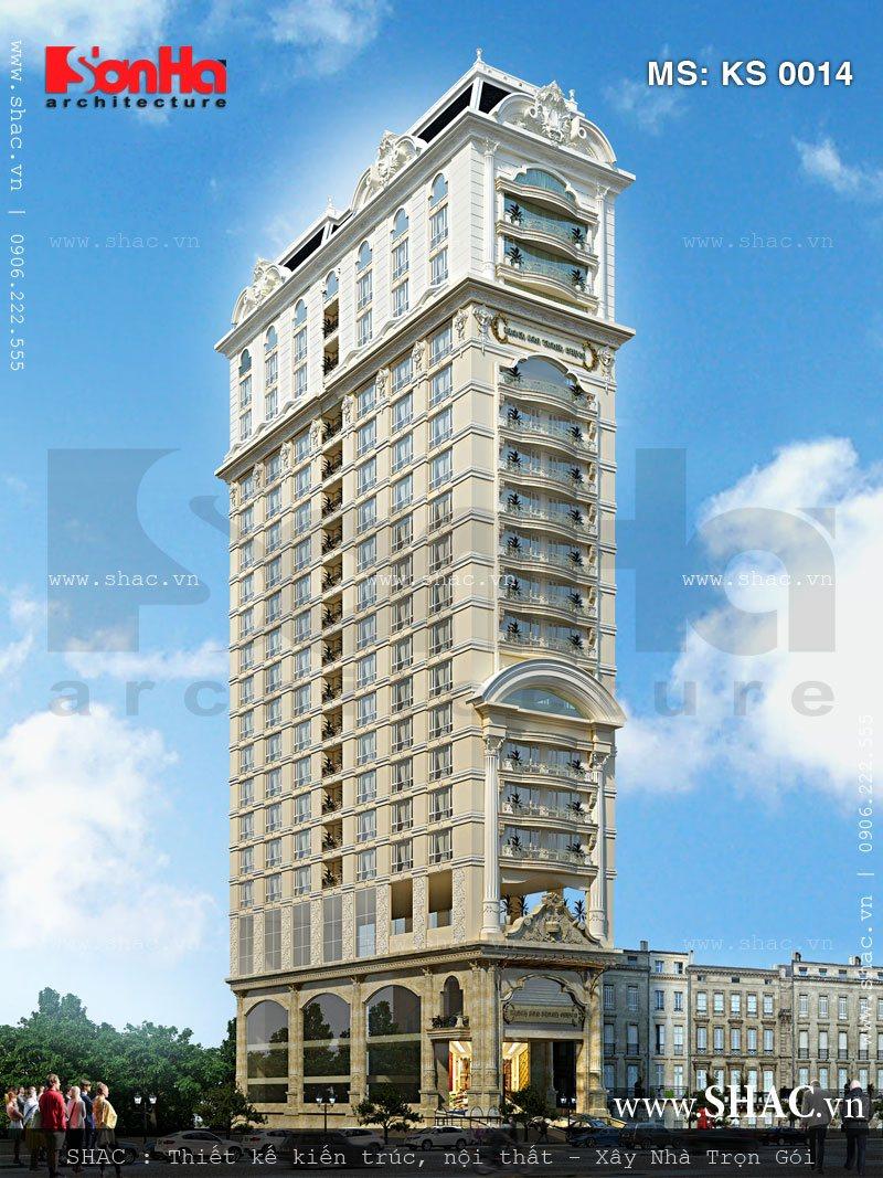 Mẫu thiết kế khách sạn kiểu Pháp cao tầng với mặt tiền sang trọng đến từng tiểu tiết