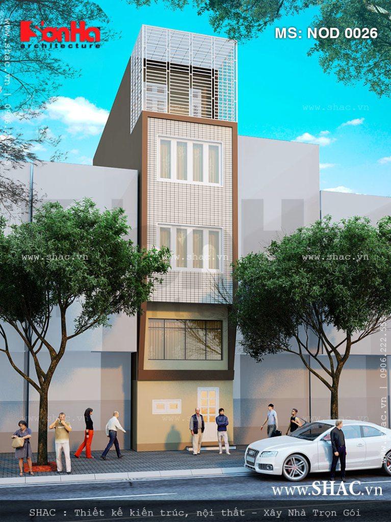 Kiến trúc mặt sau nhà lô phố 4 tầng