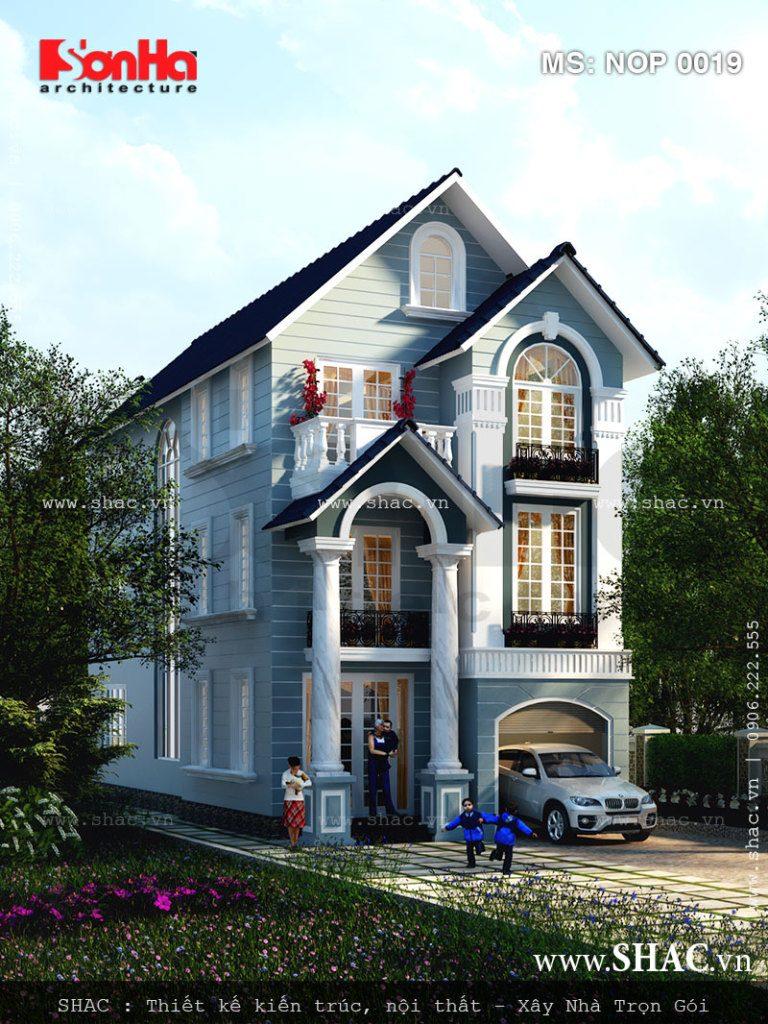 Thiết kế nhà phố bán biệt thự Pháp 3 tầng – NOP 0019