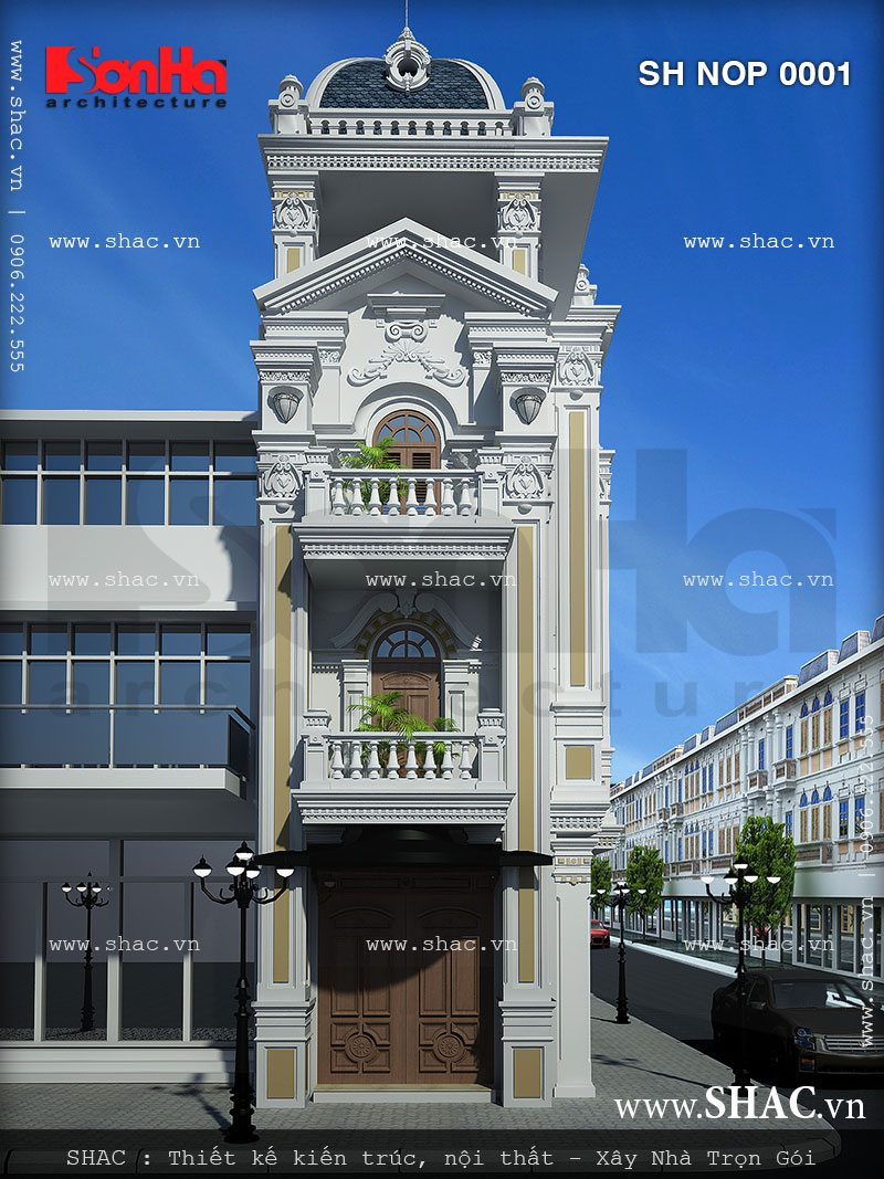 Xây nhà phố 4 tầng trọn gói kiểu Pháp tại Hải Phòng - SH NOP 0001 1