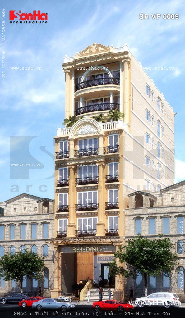 Phối cảnh tòa nhà 8 tầng phương án 3
