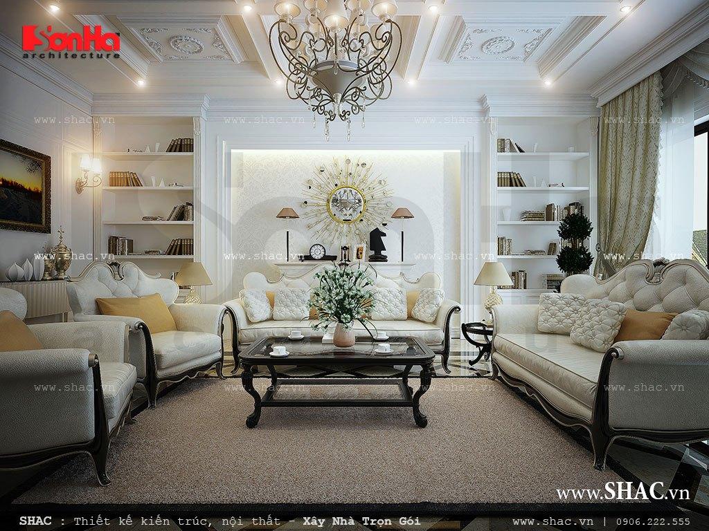 Phòng khách có bộ sofa kiểu Pháp đẹp