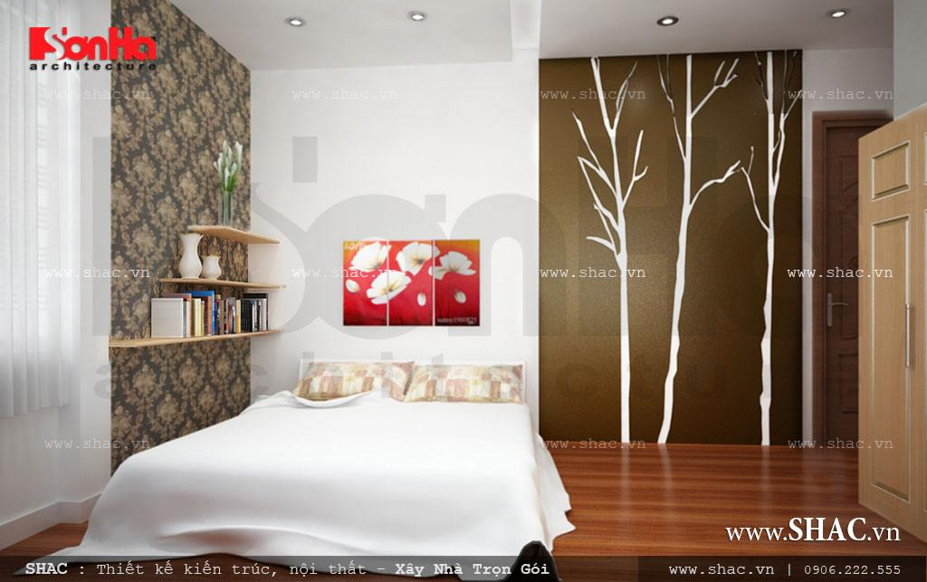 Phòng ngủ tầng 3 nhẹ nhàng, thanh thoát với trang trí độc đáo