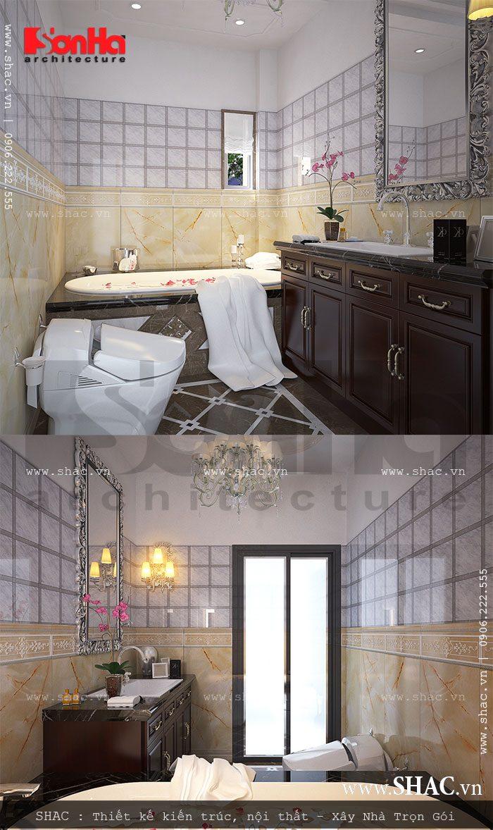 Phòng WC tiện nghi có bồn tắm