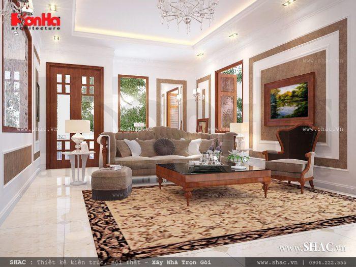 Mẫu thiết kế phòng khách biệt thự Pháp cổ điển đẹp nhất tại Hải Phòng