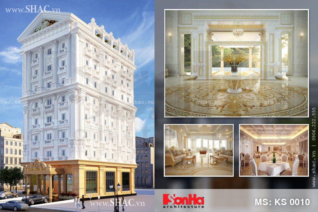 Thiết kế khách sạn 4 sao 8 tầng kiến trúc Pháp