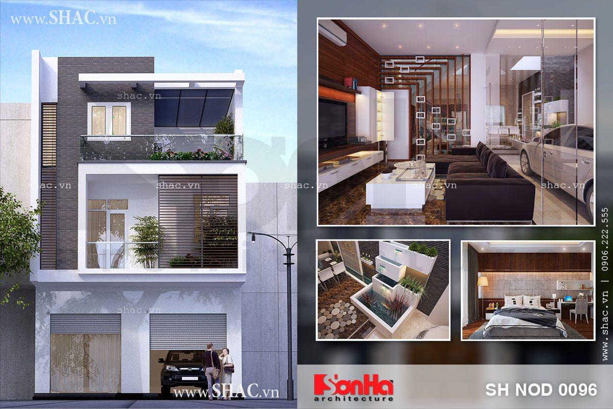 Thiết kế nhà phố 3 tầng mặt tiền rộng