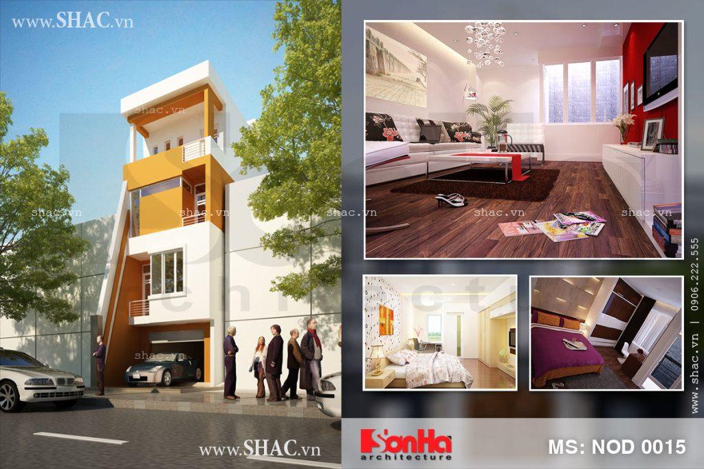 Thiết kế nhà phố 4 tầng 3 phòng ngủ hiện đại
