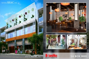 Thiết kế quán cafe 3 tầng đẹp