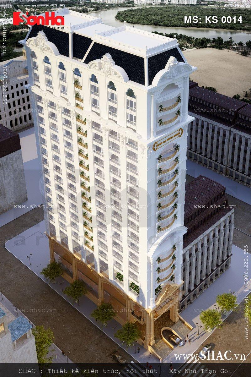 Góc view thể hiện sự tinh tế và sang trọng của kiến trúc ngoại thất khách sạn kiểu Pháp