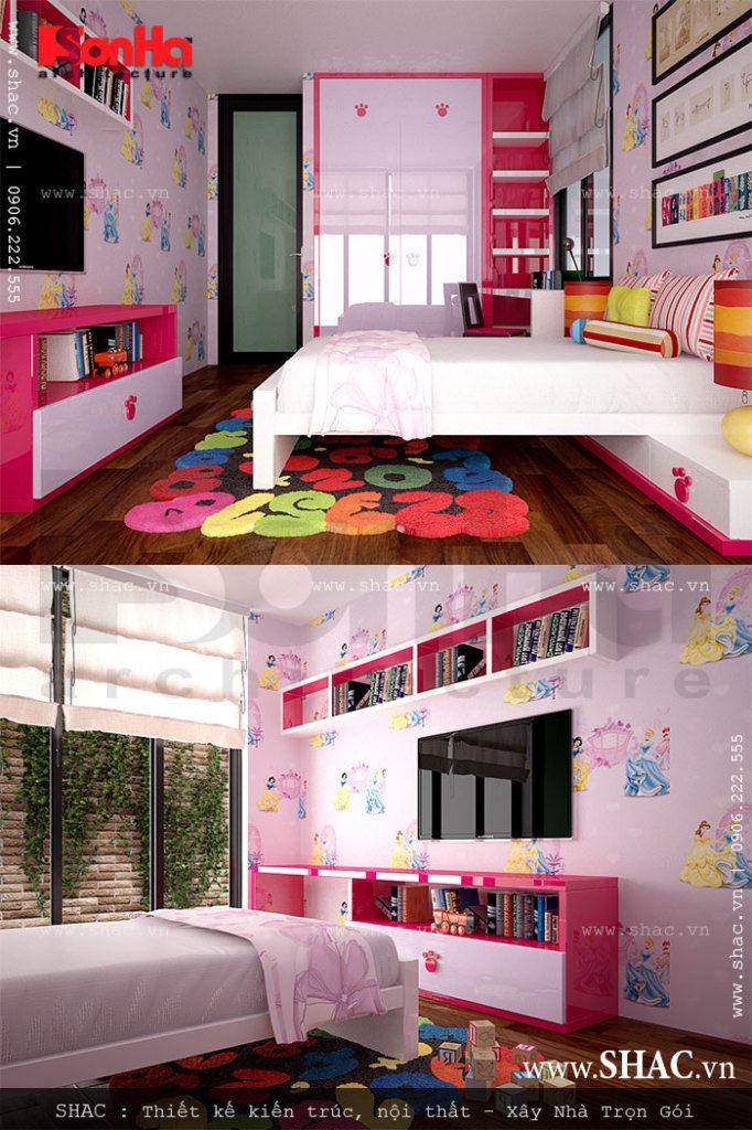 Phòng ngủ màu hồng dành cho con gái