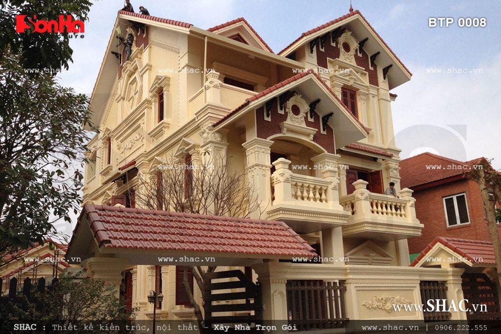 Công trình biệt thự trọn gói 3 tầng kiểu Pháp thuộc sở hữu của gia đình chủ đầu tư Nguyễn Thị Len