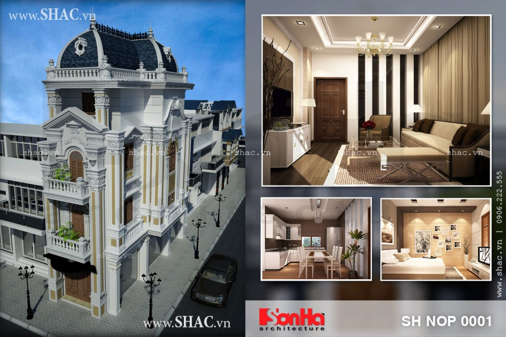 Tư vấn thiết kế nhà phố 4 tầng kiến trúc Pháp