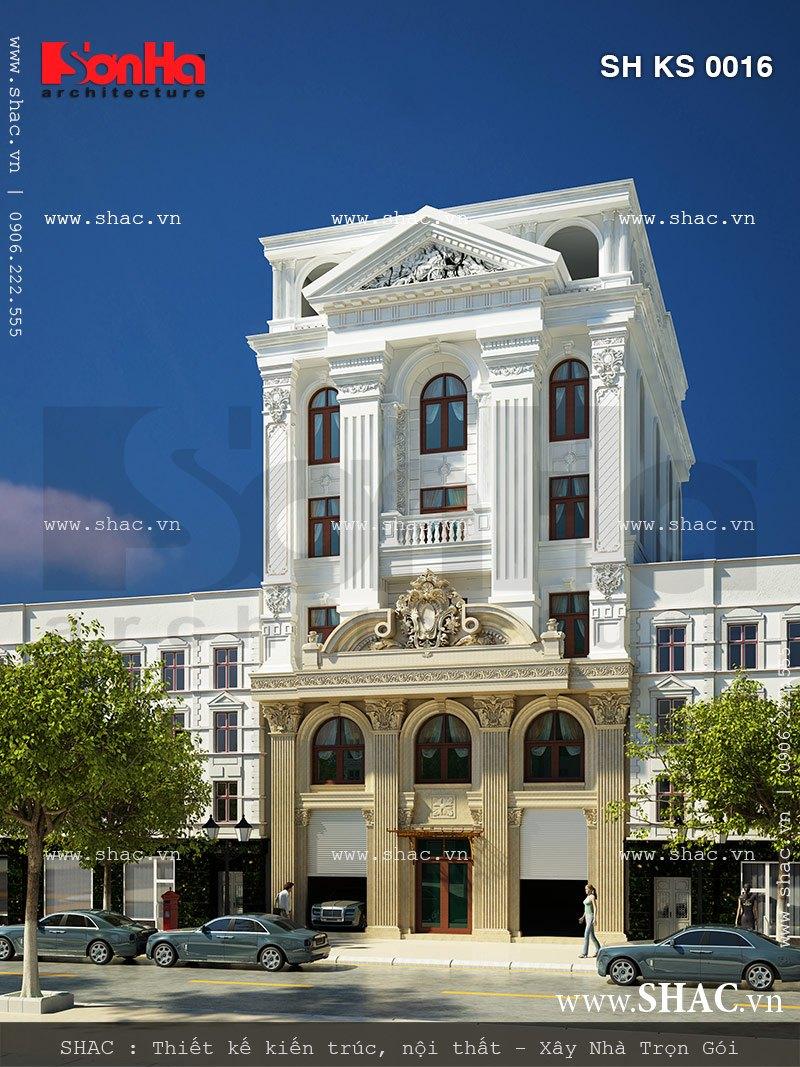 Mẫu thiết kế khách sạn mini 5 tầng kiểu Pháp đẹp mang đến giải pháp kiến trúc sang trọng